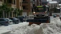 Una fuerte granizada provoca inundaciones en Almazán (Soria)