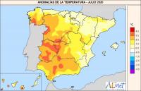 Julio de 2020, un mes muy cálido y seco en España