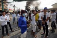 Manifestación bañada de sangre en Camboya