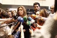 Pedro Sánchez, Susana Díaz y Patxi López despiden a Chacón en Ferraz