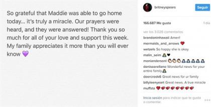 La sobrina de Britney Spears sale del hospital