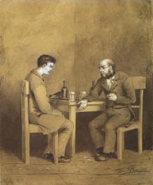 Ilustraciu00f3n de Mijau00edl Petru00f3vich Klodt. Conversaciu00f3n entre Raskolnikov y Marmeladov en Crimen y castigo, 1874. (1)